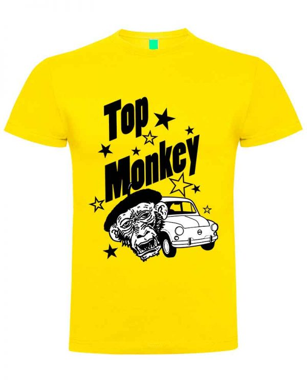 top monkey, camiseta, gas monkey ,camisetas coches, amarilla ,