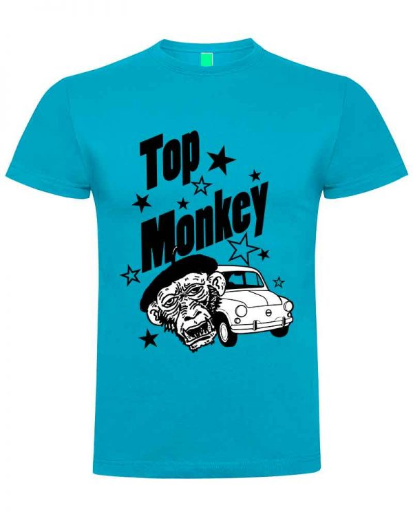 top monkey, camiseta, gas monkey ,camisetas coches, blau clar ,