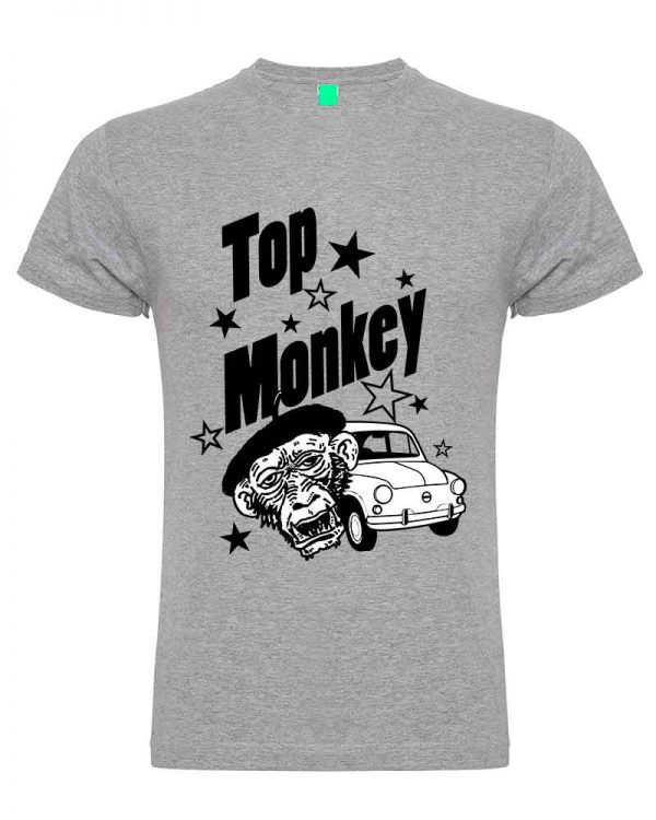 top monkey, camiseta, gas monkey ,camisetas coches, gris claro,