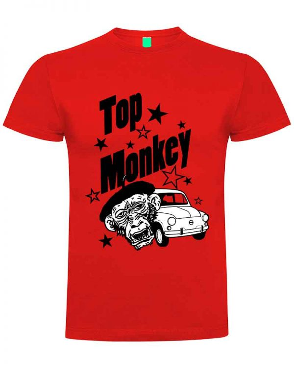 top monkey, camiseta, gas monkey ,camisetas coches, roja,