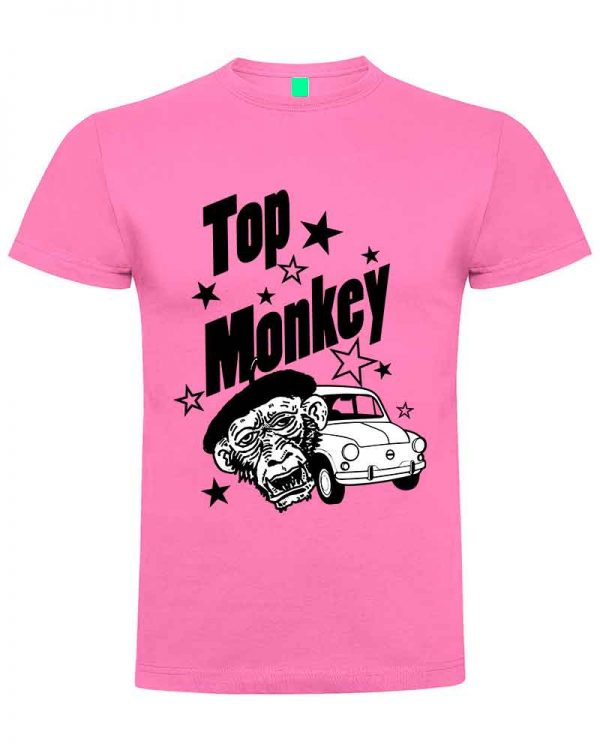 top monkey, camiseta, gas monkey ,camisetas coches, rosa,