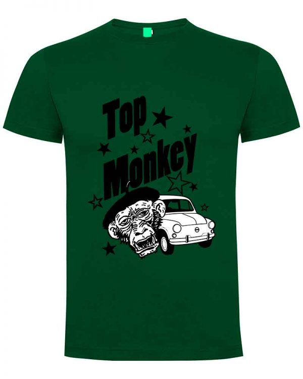 top monkey, camiseta, gas monkey ,camisetas coches, verde oscura,